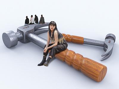 Hammer N95 design art advertising men women coronarender max sitting model hammers
