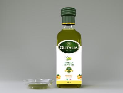 Olitalia Oliv Oil green cinema 4d coronarender glassbottle bottle oil olive olitalia