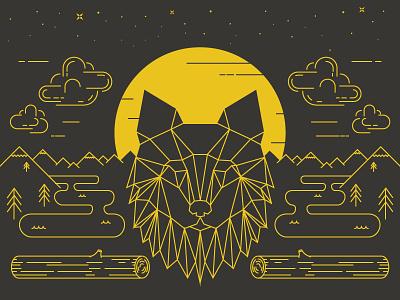 Wolf line wolf moon nature dark night