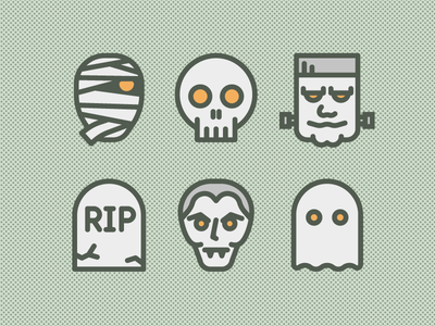 Halloween Icons ghost vampire tombstone mummy frankenstein skull halloween