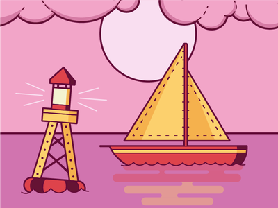 Boat And Buoy pink illustration buoy boat