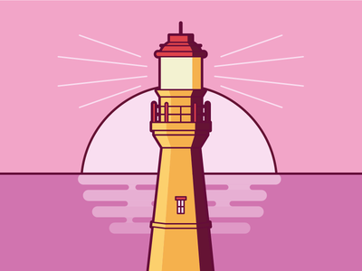 Lighthouse pink illustration lighthouse