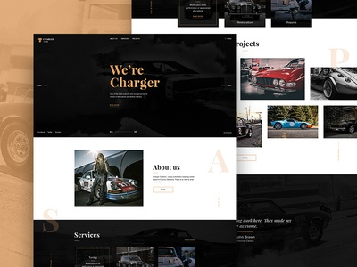 Charger Customs - Free Psd Website Template web design template free-psd web ux debut website ui psd freebie free