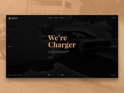 Charger Customs - Free Psd free freebie psd ui website debut ux web free-psd template web design