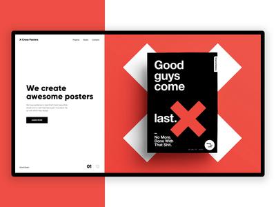 Cross Posters - Website Concept web ux ui website online minimal swiss landing typography free design