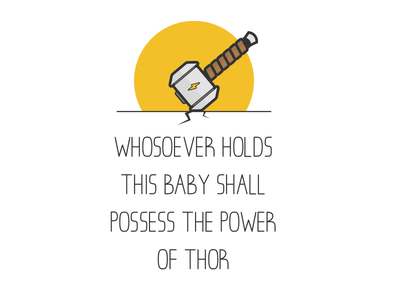 Thor Onesie baby icon illustration hammer thor