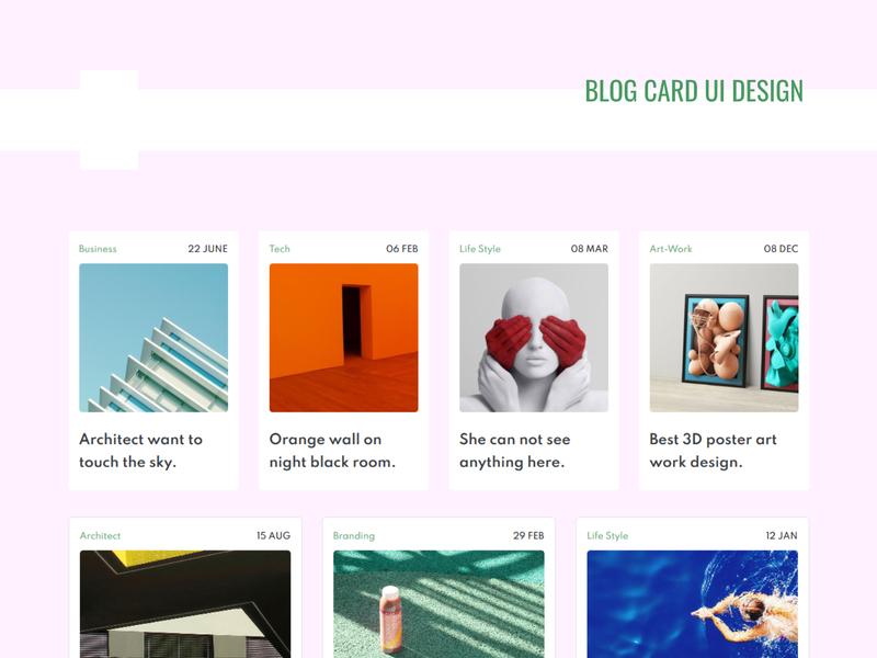 Blog Card UI design blog landing page design web css personal template design portfolio website ui webdesign