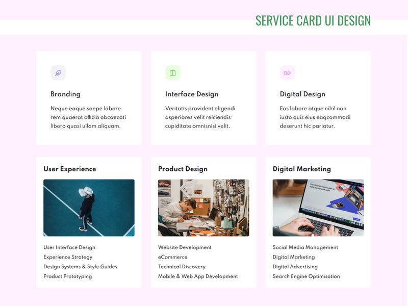 Service Card UI design service css landing page design portfolio design personal template website web ui webdesign