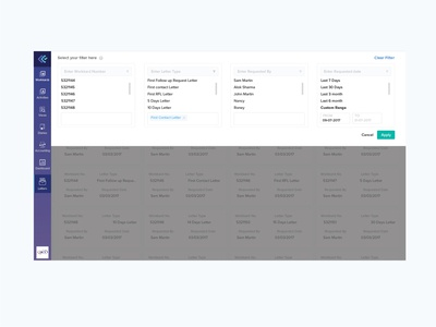 Letter Dashboard filter dropdown type letter userexperience minimalist filter dribbble ux