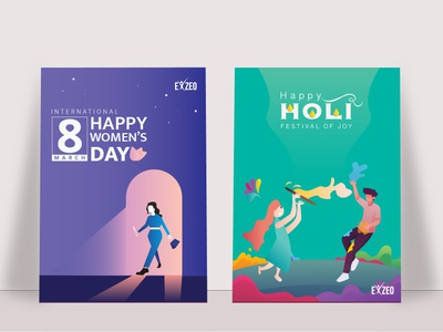 Celebrating posters of holi and Womens day dribbble best shot dribbble minimalist holi womensday festival poster uxdesign ux exzeo craft abstract