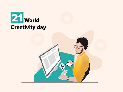 World creativity day minimalist affinitydesigner 21 world design art creativity dailyui design