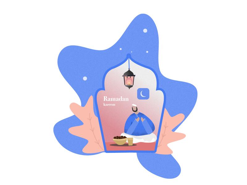 Ramadan Kareen month concept ramadan ux ui illustration