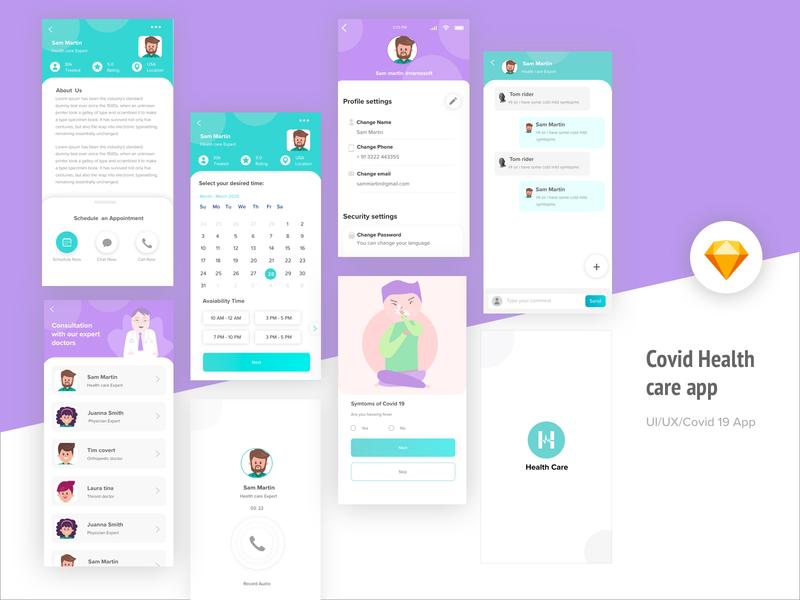 Covid Health care App android ios color dailyui dribbble health casestudy concept covid healthcare uiux app