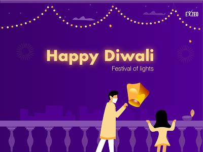 Diwali poster dia staysafe activity fun lightning celebration happyness digital illustration festival diwali