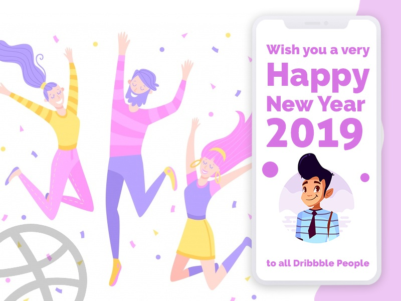 Happy New Year dribbble friends color trending app design app avtar illustration design publish happy new year
