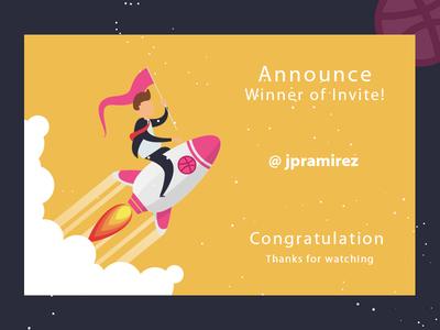 Invite Winner uiuxdesign dribbble invitation dribbble announce design giveaway winner