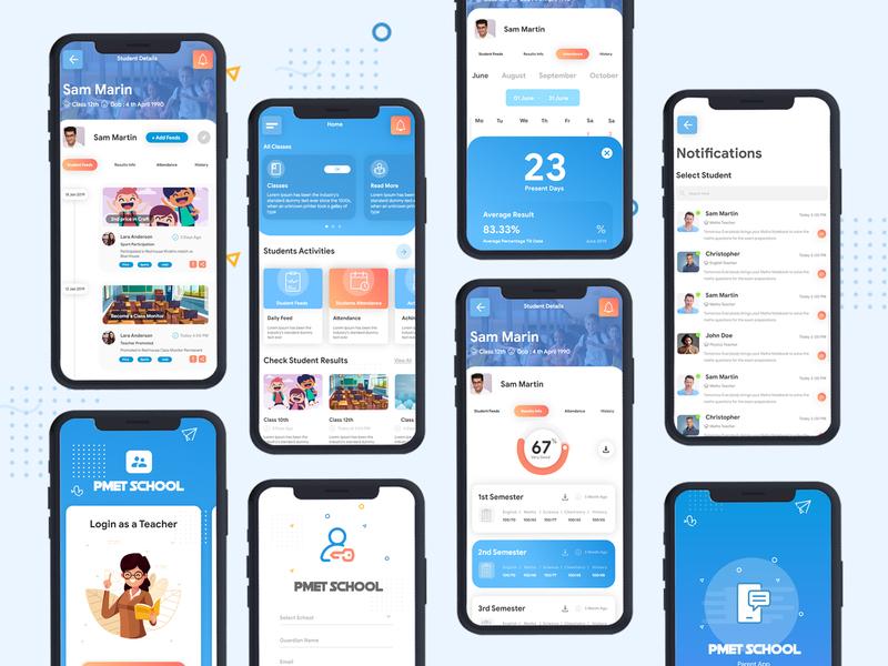 School App Concept UI/UX icons color illustrations logo schoolapp mobile uikit app design clean app minimul