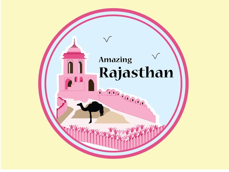 Rajasthan Amer Fort illustration illustration fun sticker weekly dribbble