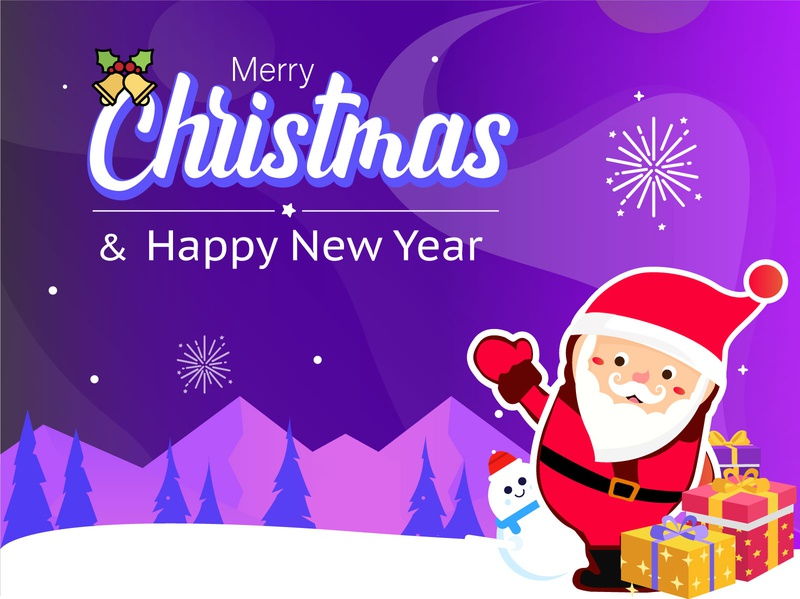 Christmas & New Year happy holidays festival celebration typography uiux illustration newyear minimalist design