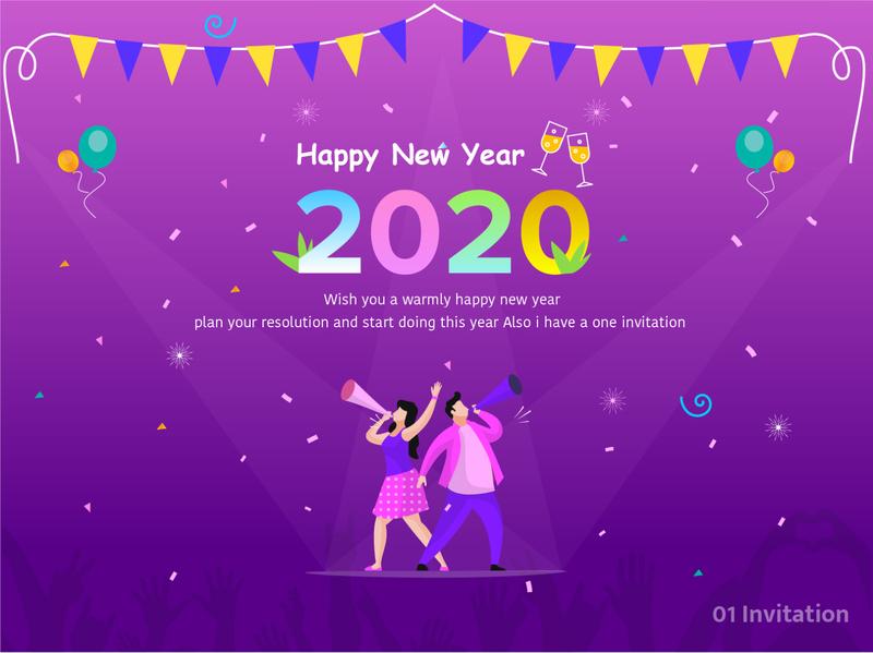 Invitation with New year invitation invite resolution celebration 2020 minimalist illustration design