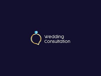Wedding Consultation icon blue design logo vector concept symbol simple creative wedding logo wedding consultation consultation wedding