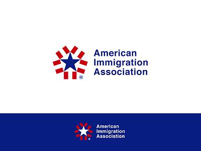 American Immigration Association negative space illustration arrows nikstudio usa flag usa vector branding symbol mark concept arrow
