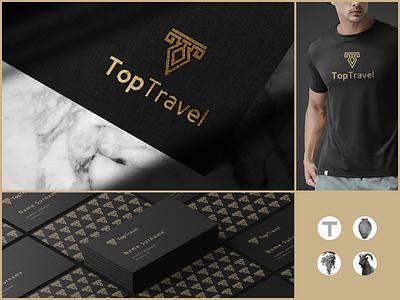 Top Travel monogram logo creative design branding symbol travel agency traveling travel logo toptravel travel