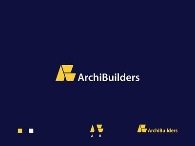 ArchiBuilders logo simple monogram branding design archibuilders architecture logo achitecture symbol creative