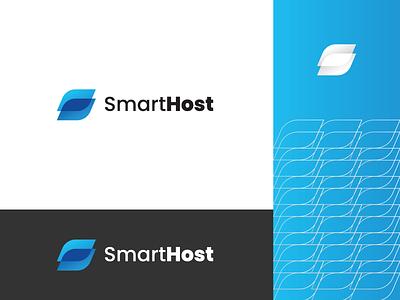 Smarthost design mark symbol branding monogram simple creative monogram logo s logo hosting company hosting host logo