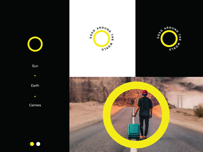 Logo for Travel Blogger branding creative earth camera sun symbol simple