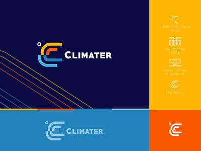 CLIMATER branding logo creative air condition climater logo heating and cooling systems climater