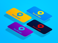 Four perspective business cards mock up