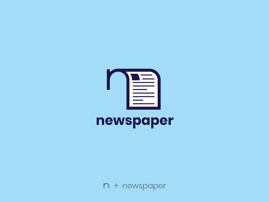 Newspaper blue newspaper newspaperlogo icon design concept nikstudio symbol creative mark logo