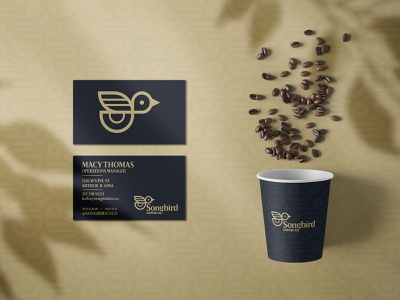 Songbird Cup & Cards packaging coffee type typography logo icon vector design branding