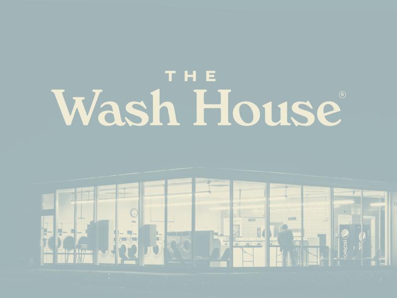 The Wash House vintage blue logos laundromat logo