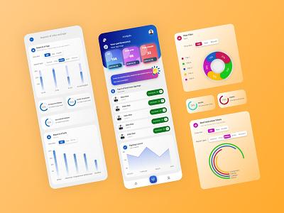 Analytics and Dashboard uikit exchange finance mobile app design graphic design home page pie chart bars user interface chart analytics dashboard uiux application app design mobile design app ux ui