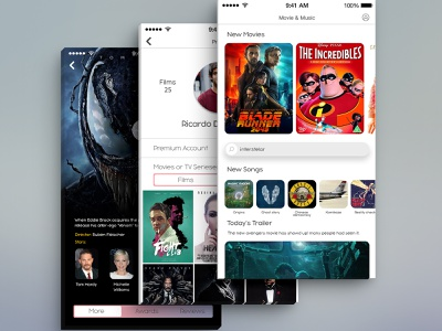 Movie and Music app applications application mobile mobile app mobile app design mobile ui adobe xd music app film app movie app illustration app design photoshop ux ui