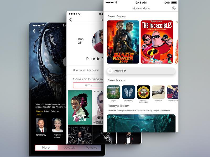 Movie and Music app music app film app movie app illustration app design photoshop ux ui
