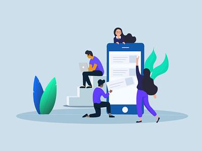 App development illustration leaf leaves macbook laptop employees color process design new illustration development app development