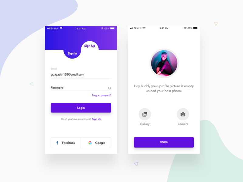 sign in & upload photo by Gayathri on Dribbble