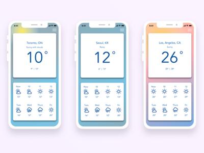 Weather App color colour app weather design ui dailyui