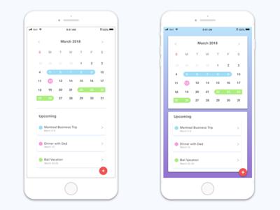 Calendar App clean simple white colour color visualdesign design ui dailyui schedule calendar