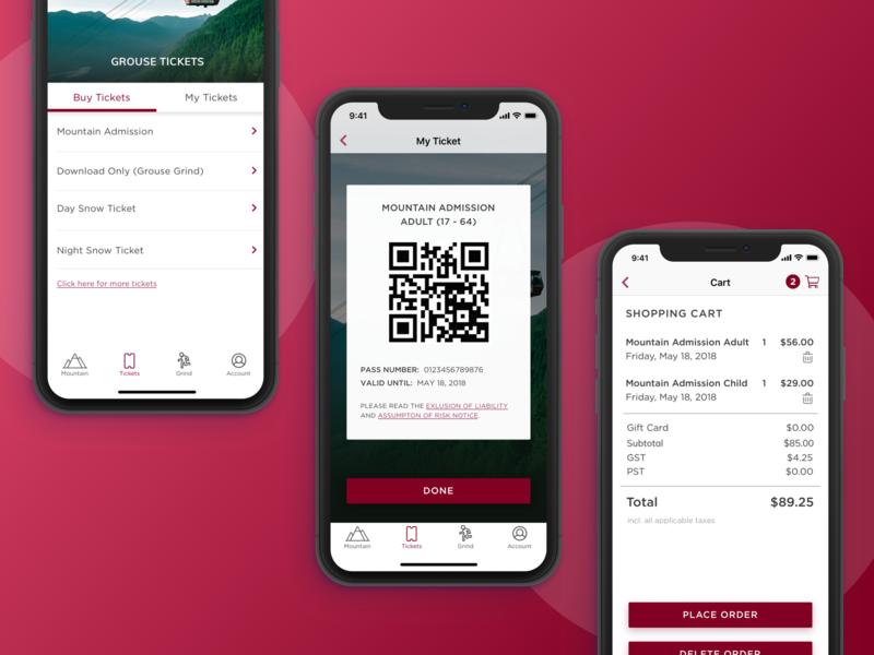 Digital Ticket ui information eticket online purchase purchase cart redesign mountain resort digital ticket ticket design clean