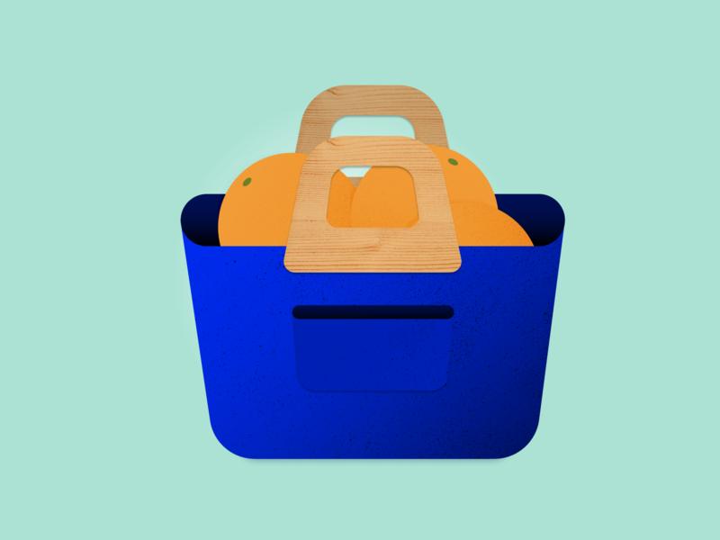 Three oranges in a blue bag 🍊