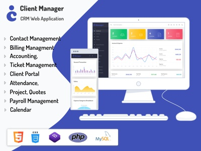 Client Manager - CRM & Billing Management Web Application project invoice calendar web css3 html5 illustration design codecanyon ui envato