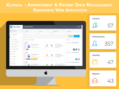 Klinikal - Appointment & Patient Data Management ux interface user ui themeforest reports patient medical health envato dashboard clinic