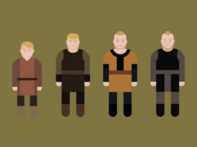 Evolution Bjorn (Iron side) Lothbrok vikings minimalism vectoriel
