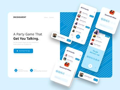 Incohearent Landing Page Concept web site website web design webdesign web ux ui blue creative colors clean application app