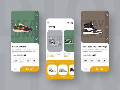 Sneaker Store App Concept sneakerhead sneakers sneaker ui design trend shopping app shop modern mobile ui mobile design mobile grunge furniture ecommerce shop ecommerce app ecommerce ui application app design app