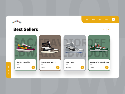 Sneaker Store Website Concept sneakers sneakerhead sneaker modern ecommerce shop ecommerce store shopping cart shopping shop product minimal interface cart card web website web design ux ui